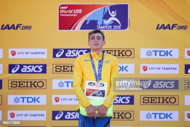 Armand Duplantis of Sweden celebrates with his medal during the medal ceremony for the men's pole vault on day five of The IAAF World U20...