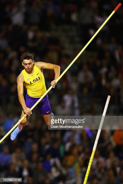 Armand Duplantis of Sweden competes in the men's pole vault during the IAAF Diamond League AG Memorial Van Damme at King Baudouin Stadium on August...
