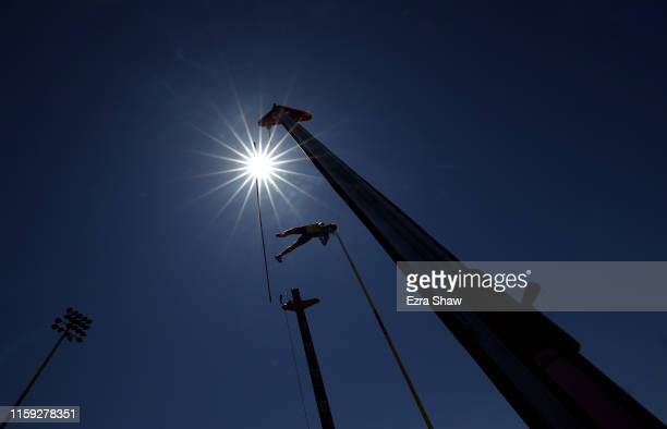 Armand Duplantis of Sweden competes in the men's pole vault during the Prefontaine Classic at Cobb Track Angell Field on June 30 2019 in Stanford...