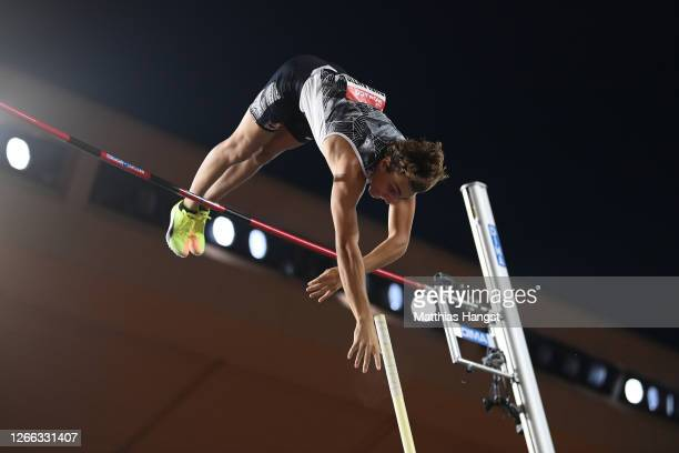 Armand Duplantis of Sweden competes in the Men's Pole Vault during the Herculis EBS Monaco 2020 Diamond League meeting at Stade Louis II on August...