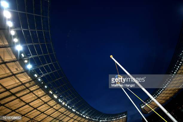 Armand Duplantis of Sweden competes in the Men's Pole Vault final during day six of the 24th European Athletics Championships at Olympiastadion on...