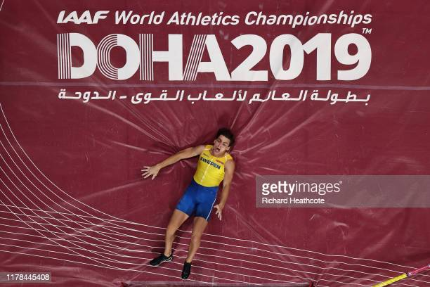 Armand Duplantis of Sweden competes in the Men's Pole Vault final during day five of 17th IAAF World Athletics Championships Doha 2019 at Khalifa...