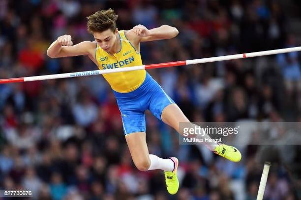 Armand Duplantis of Sweden competes in the Men's Pole Vault final during day five of the 16th IAAF World Athletics Championships London 2017 at The...