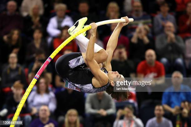 Armand Duplantis of Sweden competes in the Men's Pole Vault Final during the Muller Indoor Grand Prix World Athletics Tour event at Emirates Arena on...