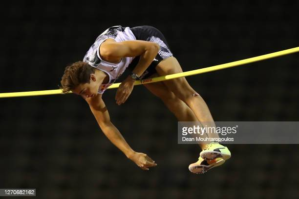 Armand Duplantis of Sweden competes in the Pole Vault competition during the Memorial Van Damme Brussels 2020 Diamond League meeting at King Baudouin...