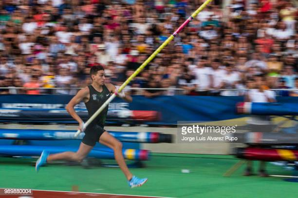 Armand Duplantis of Sweden competes in the Pole Vault men of the IAAF Diamond League Meeting de Paris 2018 at the Stade Charlety on June 30 2018 in...
