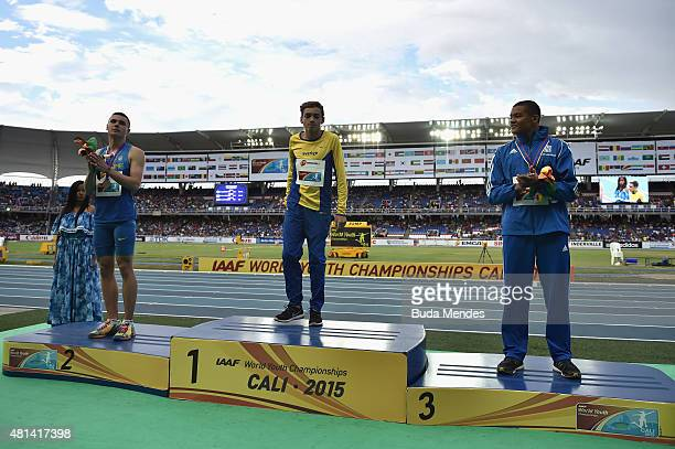 Armand Duplantis of Sweden gold medal Vladyslav Malykhin of the Ukraine silver medal and Emmanouil Karalis of Greece bronze medal in action during...