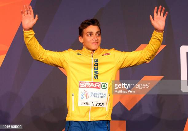 Armand Duplantis of Sweden gold poses during the medal ceremony for the Men's Pole Vault during day six of the 24th European Athletics Championships...