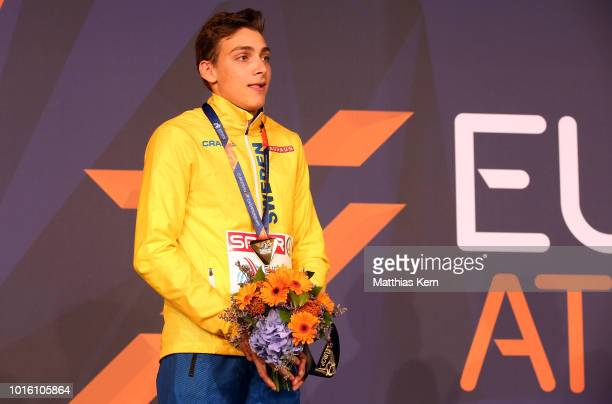 Armand Duplantis of Sweden gold poses with his medal for the Men's Pole Vault during day six of the 24th European Athletics Championships at...