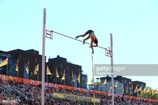 Armand Duplantis of Sweden in action during the final of the men's pole vault on day five of The IAAF World U20 Championships on July 14 2018 in...