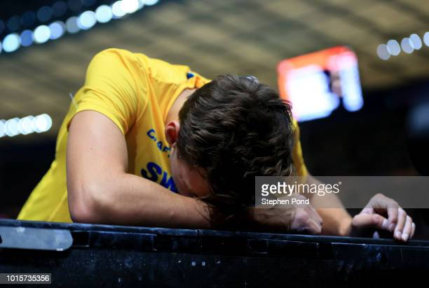 Armand Duplantis of Sweden reacts in the Men's Pole Vault final during day six of the 24th European Athletics Championships at Olympiastadion on...