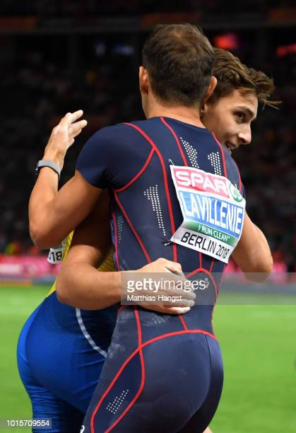 Armand Duplantis of Sweden reacts with Renaud Lavillenie of France in the Men's Pole Vault final during day six of the 24th European Athletics...