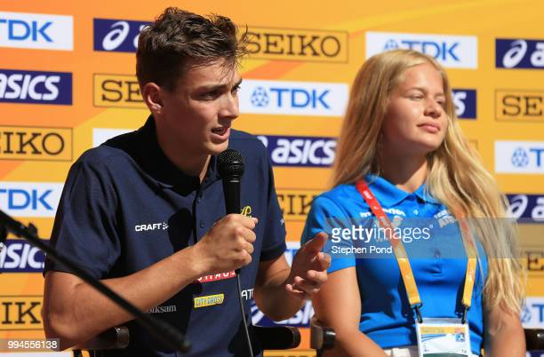 Armand Duplantis of Sweden speaks during a press conference ahead of the IAAF World U20 Championships on July 9 2018 in Tampere Finland