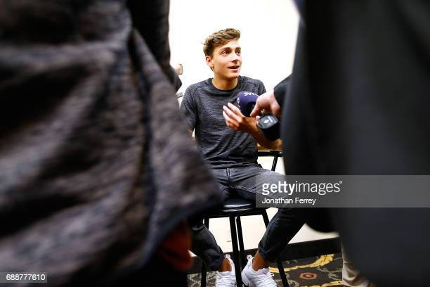Armand Duplantis of Sweden speaks to the midai during a press conference proior to the 2017 Prefontaine Classic Diamond Leagueat Hayward Field on May...