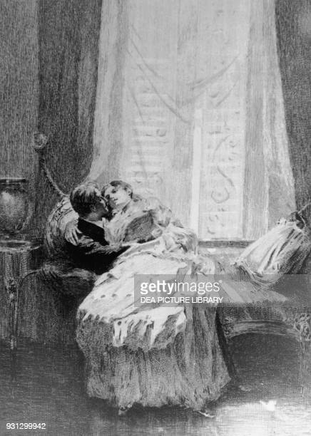 Armand Duval and Marguerite Gautier at their home in Bougival illustration for Camille The Lady of the Camellias novel by Alexandre Dumas fils by...
