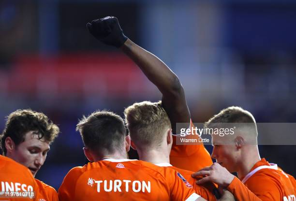 Armand Gnanduillet of Blackpool celebrates after scoring his team's second goal during the FA Cup Third Round match between Reading FC and Blackpool...