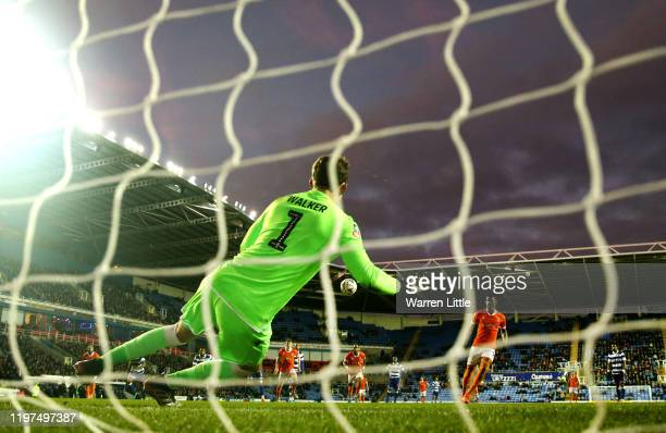 Armand Gnanduillet of Blackpool misses a penalty during the FA Cup Third Round match between Reading FC and Blackpool FC at Madejski Stadium on...