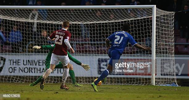 Armand Gnanduillet of Chesterfield scores his sides third goal during the Sky Bet League Two match between Northampton Town and Chesterfield at...