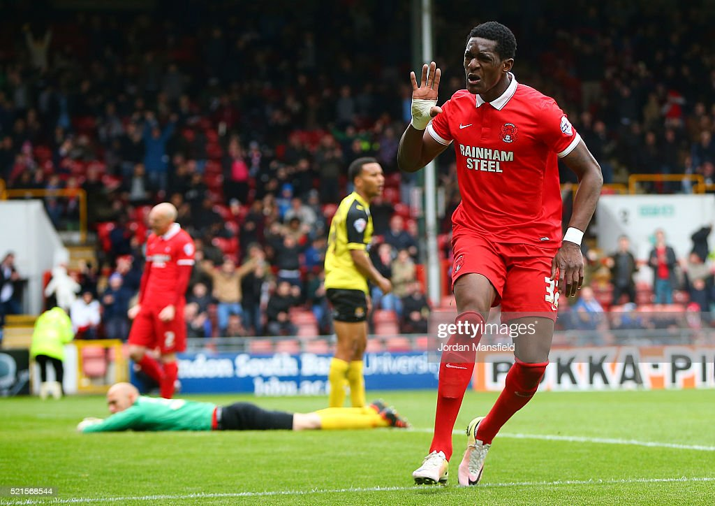 Armand Gnanduillet of Leyton Orient celebrates scoring his side's third goal during the Sky Bet League Two match between Leyton Orient and Dagenham & Redbridge at Brisbane Road on April 16, 2016 in London, England.