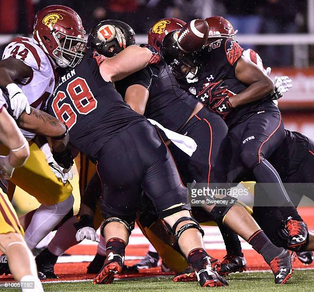 Armand Shyne of the Utah Utes fumbles at the goal line but it was recovered in the end zone for a Utah Utes third quarter touchdown against the USC...