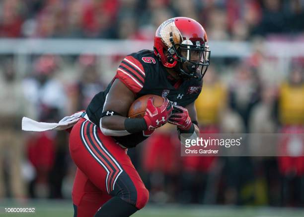 Armand Shyne of the Utah Utes rushes the ball against the Oregon Ducks during their game at Rice Eccles Stadium on November 10, 2018 in Salt Lake...