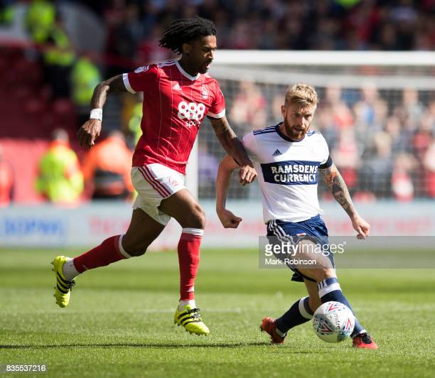 Armand Traor of Nottingham Forest and Adam Clayton of Middlesbrough during the Sky Bet Championship match between Nottingham Forest and Middlesbrough...