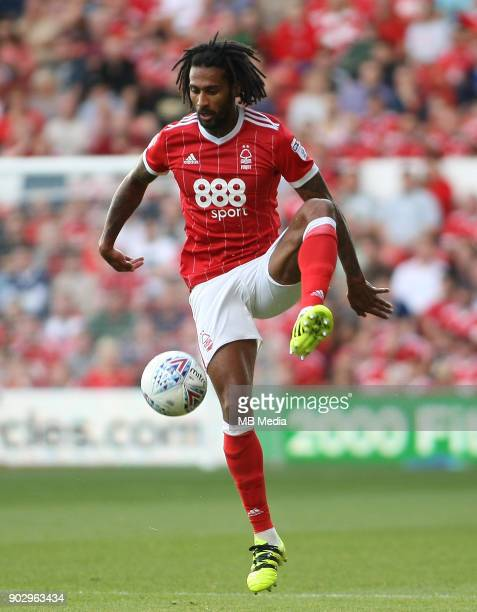 Armand Traore controls the ball in mid air during the first half of the EFL fixture between Nottingham Forest and Leeds United at The City Ground...