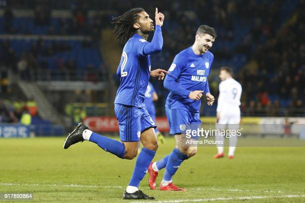 Armand Traore of Cardiff City celebrates his sides first goal of the match during the Sky Bet Championship match between Cardiff City and Bolton...