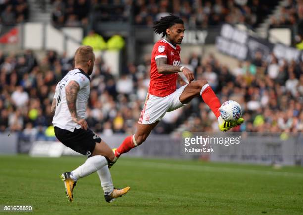 Armand Traore of Nottingham Forest in action during the Sky Bet Championship match between Derby County and Nottingham Forest at iPro Stadium on...