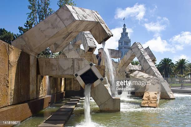 Armand Vaillancourt's water feature 'Quebec Libre' at the Embarcadero Centre in San Francisco, California, United States of America, North America