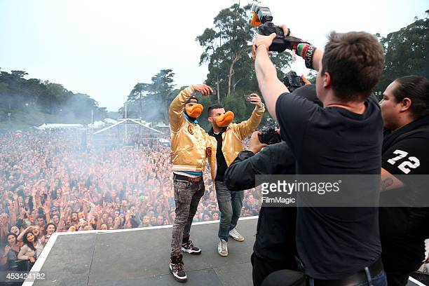 Armand Van Helden and ATrak of Duck Sauce perform at the Twin Peaks Stage during day 2 of the 2014 Outside Lands Music and Arts Festival at Golden...