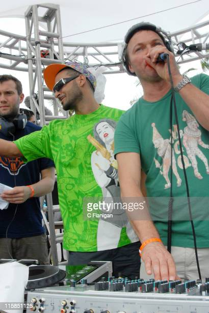 Armand van Helden and Pete Tong during Winter Music Conference 2007 Radio 1 and Pete Tong's 2007 Essential Selection Live WMC Pool Party at The...