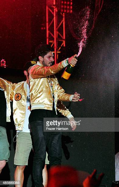 Armand Van Helden of Duck Sauce performs onstage during day 3 of the 2014 Coachella Valley Music Arts Festival at the Empire Polo Club on April 20...