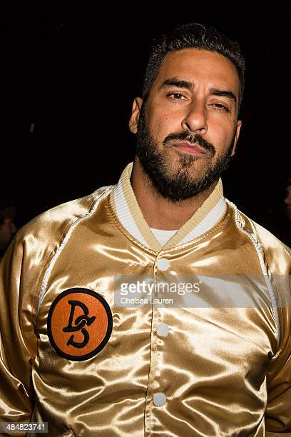 Armand Van Helden of Duck Sauce poses backstage at the Coachella Valley music and arts festival at The Empire Polo Club on April 13 2014 in Indio...