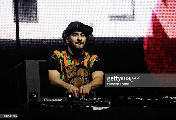 Armand Van Helden performs on stage at the Sydney leg of the Good Vibrations festival at Centennial Park on February 13 2010 in Sydney Australia