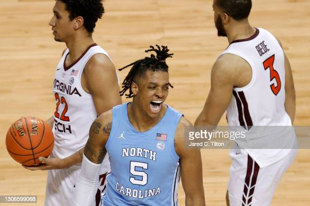 Armando Bacot of the North Carolina Tar Heels reacts following a dunk during the second half of their quarterfinals game against the Virginia Tech...