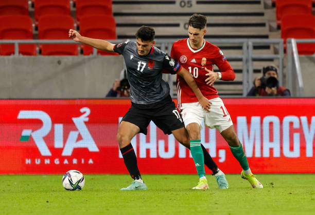 Armando Broja of Albania competes for the ball with Dominik Szoboszlai of Hungary during the FIFA World Cup 2022 Qatar Qualifier match between...