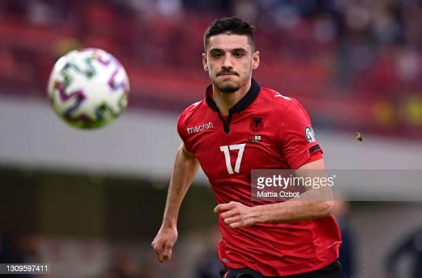 Armando Broja of Albania looks on during the FIFA World Cup 2022 Qatar qualifying match between Albania and England at the Qemal Stafa Stadium on...