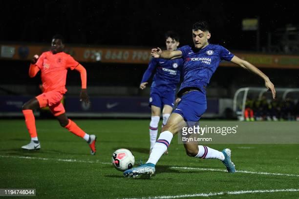 Armando Broja of Chelsea scores during the FA Youth Cup Third Round match between Chelsea and Huddersfield Town at Kingsmeadow on December 18 2019 in...