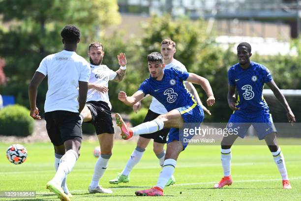 Armando Broja of Chelsea shoots during a Pre-Season Friendly between Chelsea and Peterborough United at Chelsea Training Ground on July 17, 2021 in...