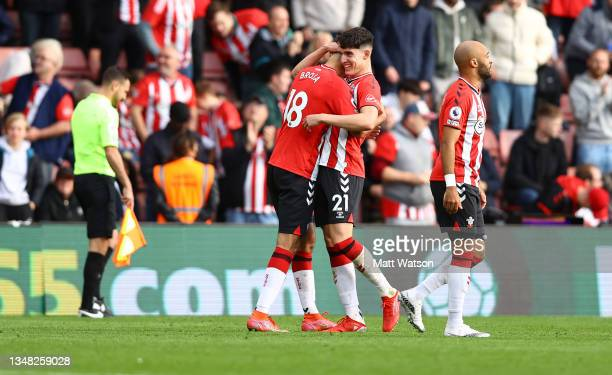 Armando Broja of Southampton celebrates with team mate Tino Livramento during the Premier League match between Southampton and Burnley at St Mary's...