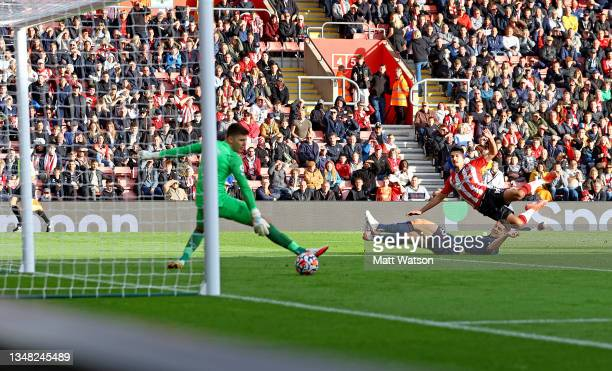 Armando Broja of Southampton strikes to put his team 2-1 up during the Premier League match between Southampton and Burnley at St Mary's Stadium on...