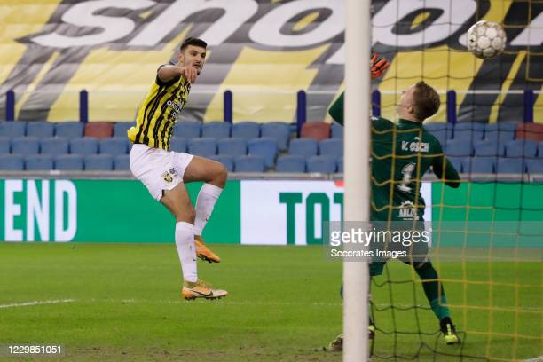 Armando Broja of Vitesse scores 2-0, Yannick van Osch of Fortuna Sittard during the Dutch Eredivisie match between Vitesse v Fortuna Sittard at the...