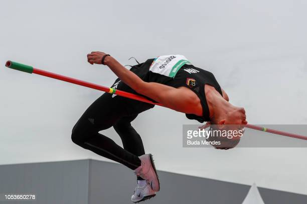 Armando Bustos of Venezuela competes in Men's High Jump Stage 1during day 5 of Buenos Aires 2018 Youth Olympic Games at Youth Olympic Park Villa...