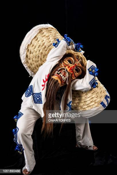 Armando Castelan Simon poses for a photograph with his traditional costume during the presentation of the Huey Atlixcayotl Festival on September 29...