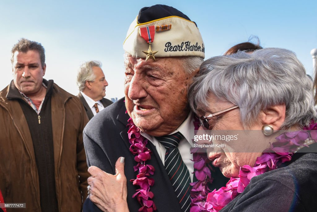Armando 'Chick' Galella gets emotional after a wreath-laying ceremony aboard the Intrepid Sea, Air and Space Museum the on December 7, 2017 in New York City. The 96 year old Galella was the only survivor to attend the ceremony commemorating the 76th anniversary of the attack on Pearl Harbor.