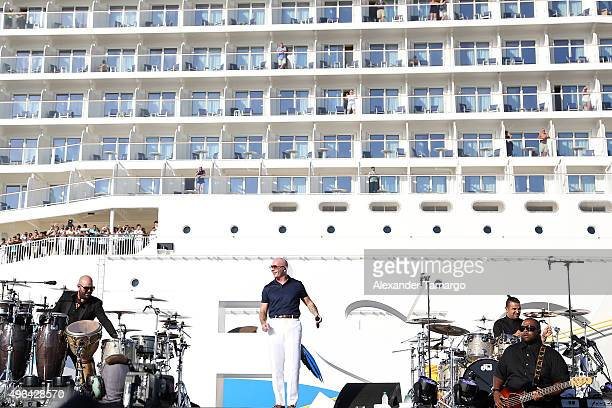 Armando Christian Perez Pitbull performs onstage at the Christening Ceremony for Norwegian Cruise Line's newest ship Norwegian Escape at Port Miami...