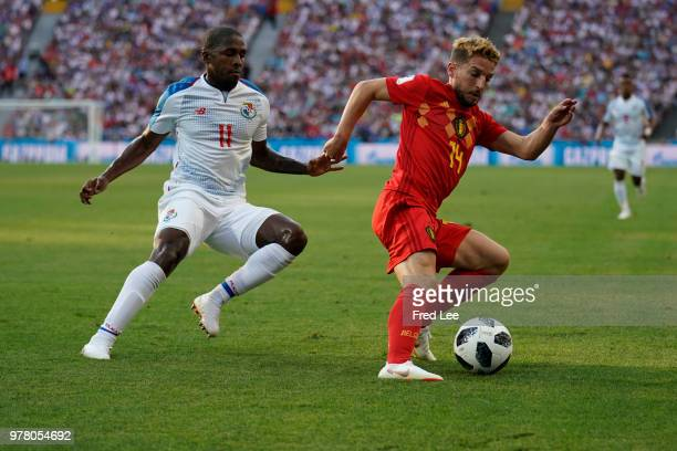 Armando Cooper of Panama and Dries Mertens of Belgium battle for the ball during the 2018 FIFA World Cup Russia group G match between Belgium and...