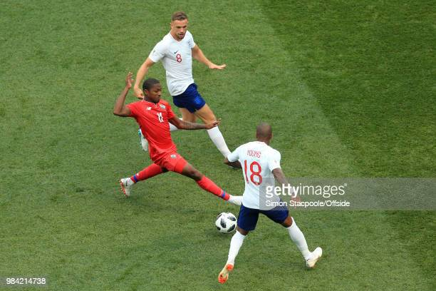 Armando Cooper of Panama battles with Ashley Young of England and Jordan Henderson of England during the 2018 FIFA World Cup Russia Group G match...
