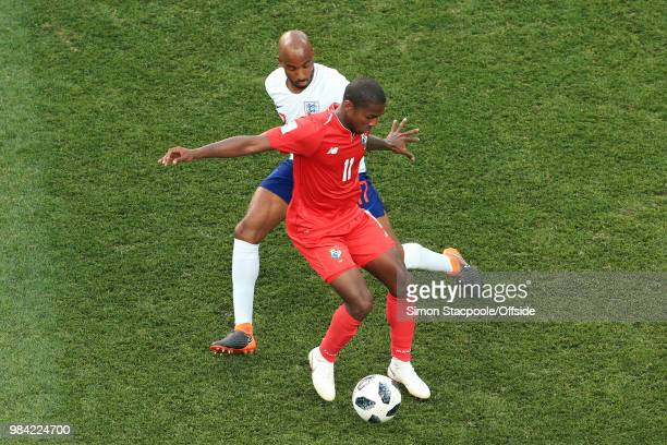 Armando Cooper of Panama battles with Fabian Delph of England during the 2018 FIFA World Cup Russia Group G match between England and Panama at the...
